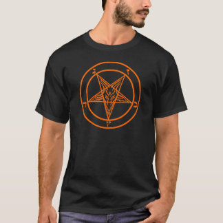 Orange Baphomet Pentagram T-Shirt