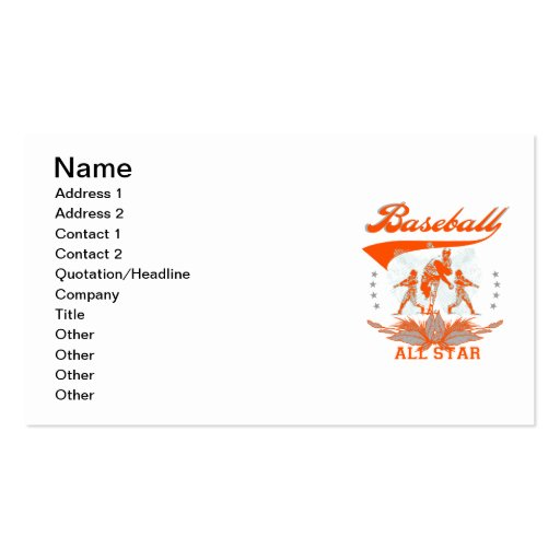 Orange Baseball All Star T-shirts and Gifts Business Cards