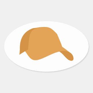 Orange baseball cap oval sticker