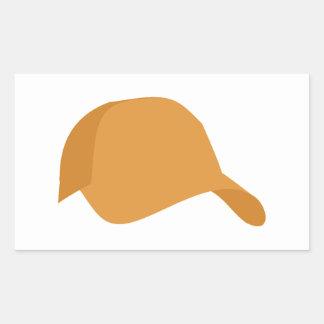 Orange baseball cap rectangular sticker