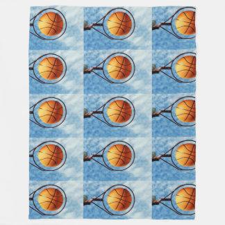 Orange Basketball And Hoop, Large Fleece Blanket