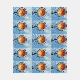 Orange Basketball And Hoop, Medium, Fleece Blanket