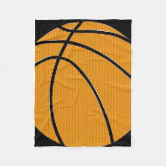 Orange Basketball Design with Black Background Fleece Blanket