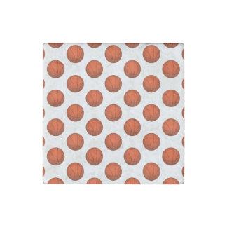 Orange Basketball Pattern Stone Magnet