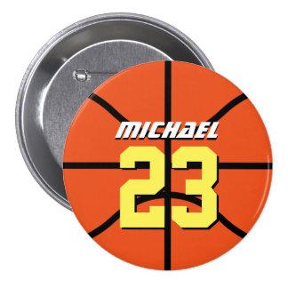 Orange Basketball Sports Team Button Pin
