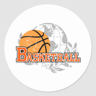 Orange Basketball T-shirts and Gifts Round Stickers