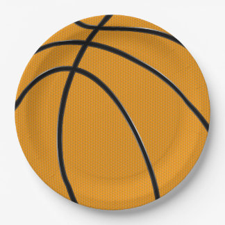 Orange Basketball with Black Seams Design 9 Inch Paper Plate