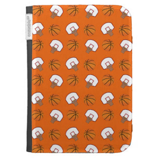 Orange basketballs and nets pattern kindle covers