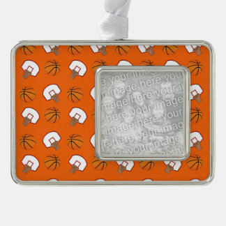 Orange basketballs and nets pattern silver plated framed ornament