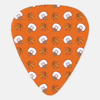 Orange basketballs and nets pattern guitar pick
