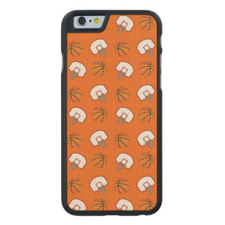 Orange basketballs and nets pattern carved® maple iPhone 6 slim case