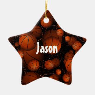 Orange basketballs bouncing everywhere name black christmas ornament