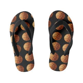 Orange Basketballs On Black Background, Kid's Flip Flops