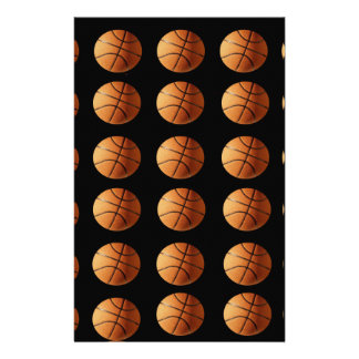 Orange_Basketballs_On_Black,_ Custom Stationery
