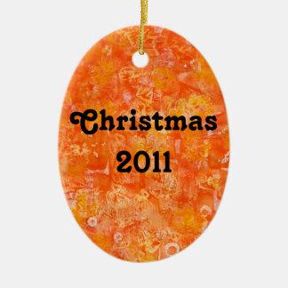 Orange Batik Style Watercolors Christmas Ornament