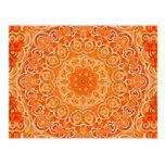 Orange Batik Watercolor Mandala Post Cards