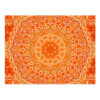 Orange Batik Watercolor Mandala Postcard