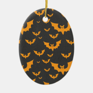 Orange Bats Ceramic Oval Decoration