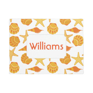 Orange Beach Shell Pattern | Add Your Name Doormat