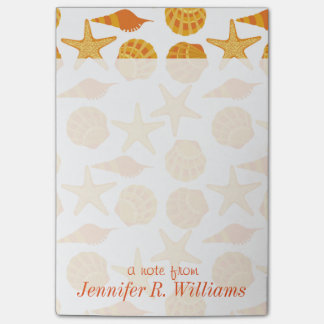 Orange Beach Shell Pattern | Add Your Name Post-it® Notes