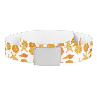 Orange Beach Shell Pattern Belt