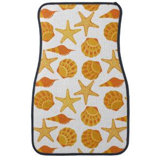 Orange Beach Shell Pattern Car Mat