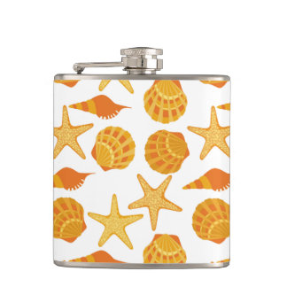 Orange Beach Shell Pattern Flasks