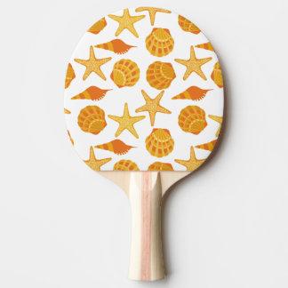 Orange Beach Shell Pattern Ping Pong Paddle