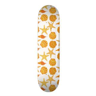 Orange Beach Shell Pattern Skate Deck