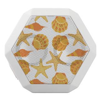 Orange Beach Shell Pattern White Bluetooth Speaker