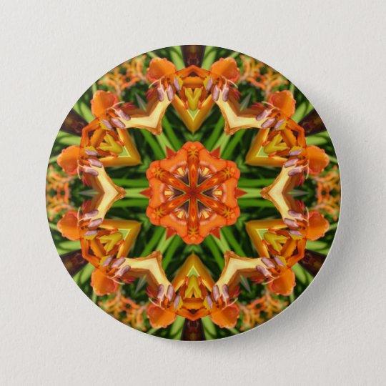 Orange beauty collage mandala - Button