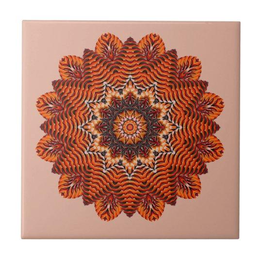 Orange Beauty Textured Mandala Tile