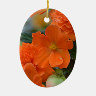 Orange Begonias Christmas Ornament