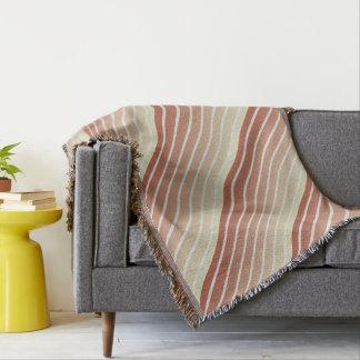 Orange Beige Vintage Stripes Throw Blanket