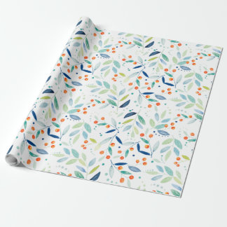 Orange Berries & Leafs Watercolors Illustratione Wrapping Paper