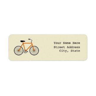 Orange Bicycle Address Label