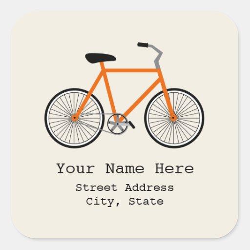 Orange Bicycle Address Sticker