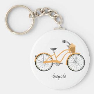 Orange Bicycle Basic Round Button Key Ring