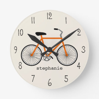 Orange Bicycle Clock