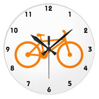 Orange Bicycle Large Clock