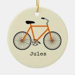 Orange Bicycle Personalised Ornament