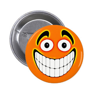 Orange Big Grin Smiley Face Buttons