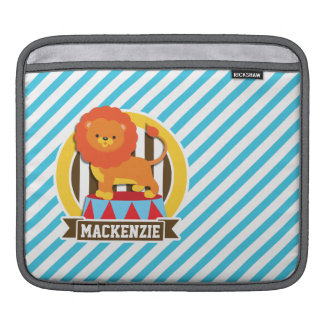 Orange Big Top Circus Lion; Blue & White Stripes iPad Sleeves