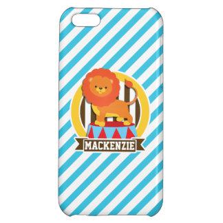 Orange Big Top Circus Lion; Blue & White Stripes iPhone 5C Covers