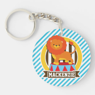 Orange Big Top Circus Lion; Blue & White Stripes Double-Sided Round Acrylic Key Ring