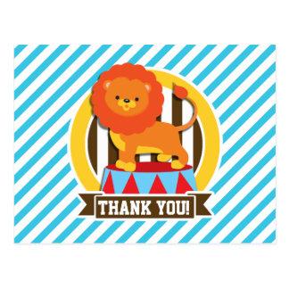 Orange Big Top Circus Lion; Blue & White Stripes Postcard