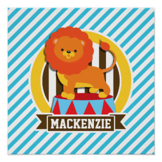 Orange Big Top Circus Lion; Blue & White Stripes Poster
