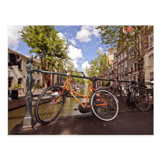 Orange bike in Amsterdam Netherlands Postcard