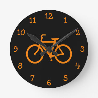Orange Bike Round Clock