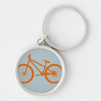 Orange Bike Silver-Colored Round Key Ring